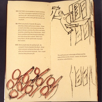 "The Word, 2000. 5 ¼"" x 12""; Artist's book, edition of 4. Plexiglass, paper, leather sewing supports. Printed at The Center for Book Arts, New York, NY. Text inspired by conversations overheard in bars and cafes in Brooklyn and Manhattan, letterpress. Illustrations inspired by revolutionary poster art of the early-to-mid-twentieth century, dry-point etchings."