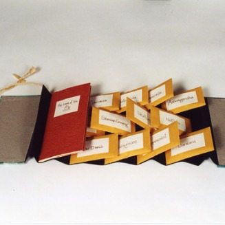 "The Book of Tea, 2005. 3 ¾"" x 7 ½""; Artist's book. Binder's board, paper, envelopes, loose tea, ink. Flag binding, with pamphlet. The Book of Tea is a gift. The Book of Tea is to be shared. It both describes and contains a number of herbal teas, which can be brewed separately or mixed together for different moods and occasions."